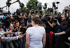 Nadezhda Savchenko talks to journalists at the Kiev Airport