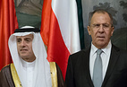 Russian Foreign Minister Sergey Lavrov with his Saudi counterpart