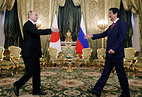 Russian President Vladimir Putin and Japanese Prime Minister Shinzo Abe, April 27