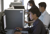Staff at the Korea Computer Center in Pyongyang (archive)
