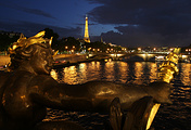 A sculpture on the Pont Alexander III across the Seine River in Paris