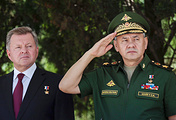 Sergey Shoigu (right) in Crimea