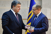 Ukrainian President Pyotr Poroshenko and Odessa Region's new governor Maksim Stepanov