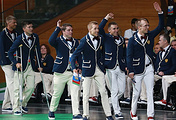 Members of the Russian paralympic team at sporting event in Russia