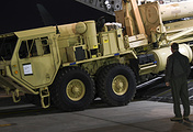 Truck carrying parts of US missile launchers and other equipment needed to set up the THAAD missile defense system in Pyeongtaek, South Korea