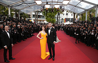 Actors Anna Kendrick and Justin Timberlake with producer Jeffrey Katzenberg at the 69th international film festival in Cannes