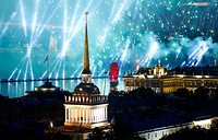 Fireworks light up the sky over the Admiralty building, the Peter and Paul Fortress and the Hermitage during festivities marking school graduation in St. Petersburg, June 24