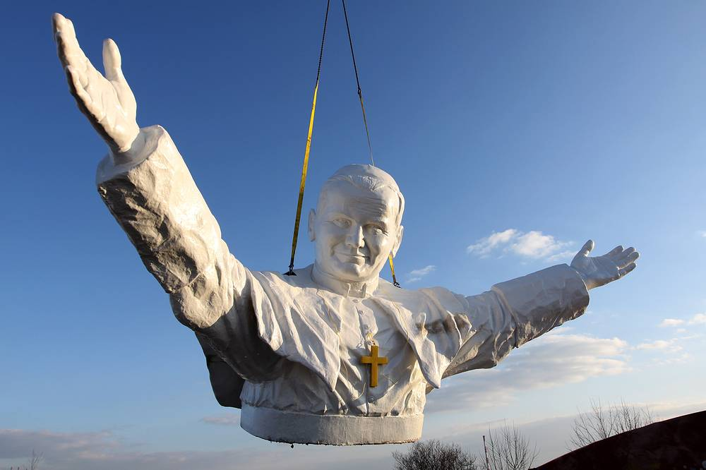 Construction of the world's tallest (14 meters) statue of Pope John Paul II in Polish city of Czestochowa. April 7, 2013.