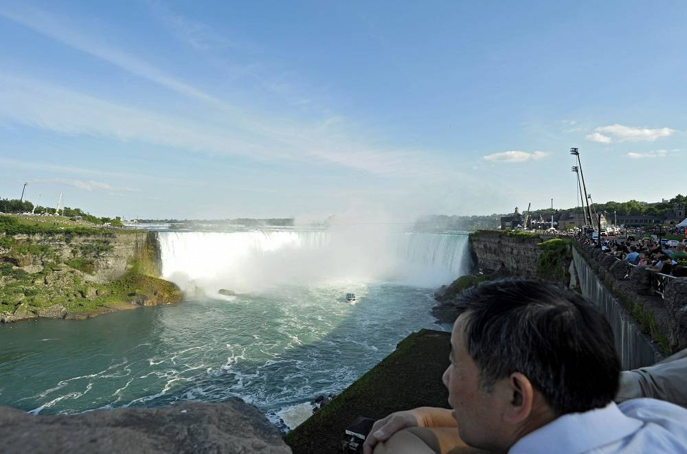 Tourists near Niagara Falls in summer