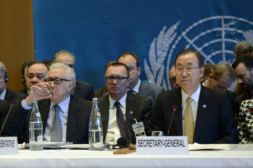 UN-Arab League envoy for Syria Lakhdar Brahimi, (L), UN Secretary General Ban Ki-Moon, (R), speaks during opens the so-called Geneva II peace talks in Montreu