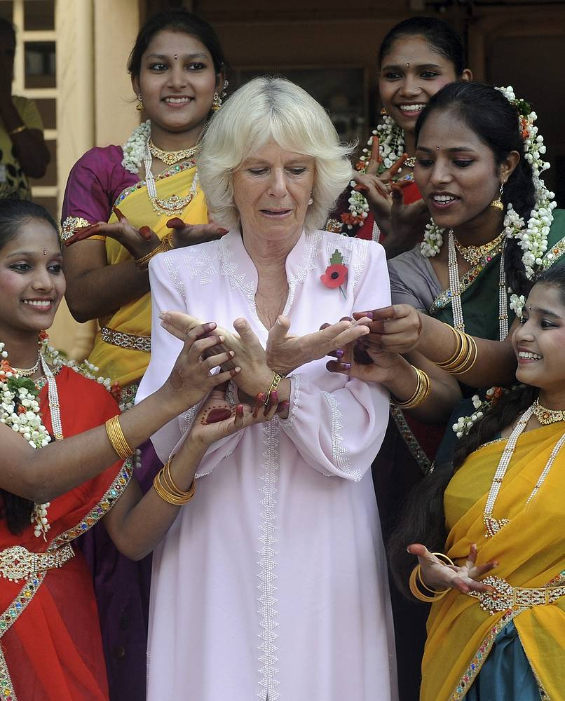 Camilla, Duchess of Cornwall took part in a class of traditional Indian dance on a visit to Mumbai in Nov. 2013