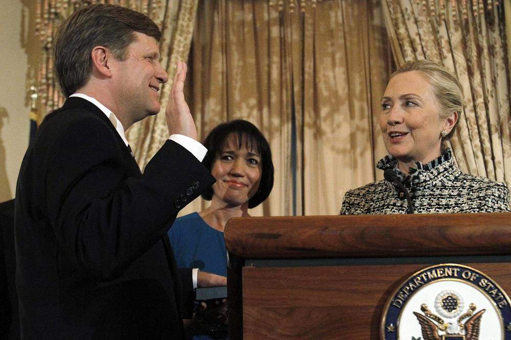 Michael McFaul was sworn-in as Ambassador to Russia by Secretary of State Hillary Clinton at the State Department in Washington on Jan. 10, 2012