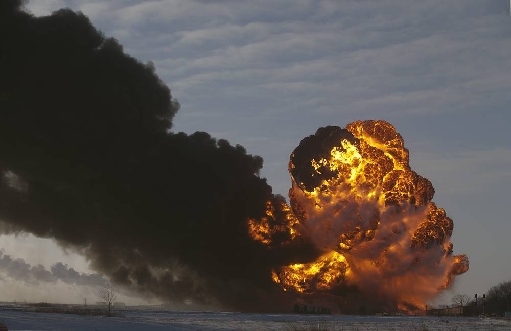 An oil train derailed Monday, Dec 30, 2013, in Casselton, North Dakota. The derailment caused several explosions as some of the cars caught fire