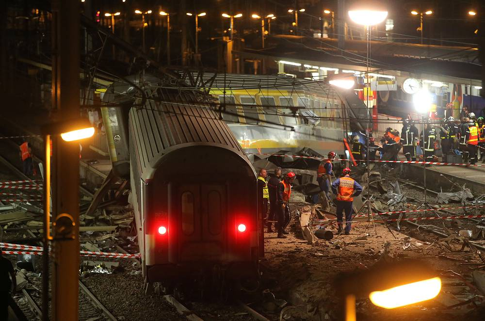 A packed passenger train skidded off its rails after leaving Paris on Jul. 12, 2013.  Train cars slammed into each other and overturned leaving massive casualties