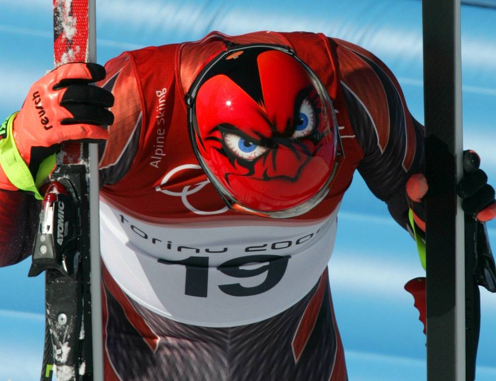 A rather furious face stares out from the helmet of Switzerland's Didier Cuche at the Turin 2006 Winter Olympic Games