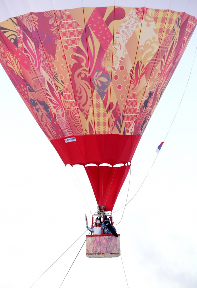 Olympic flame during a baloon tour