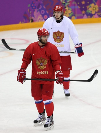Russian ice hockey forwards Alexander Radulov and Viktor Tikhonov