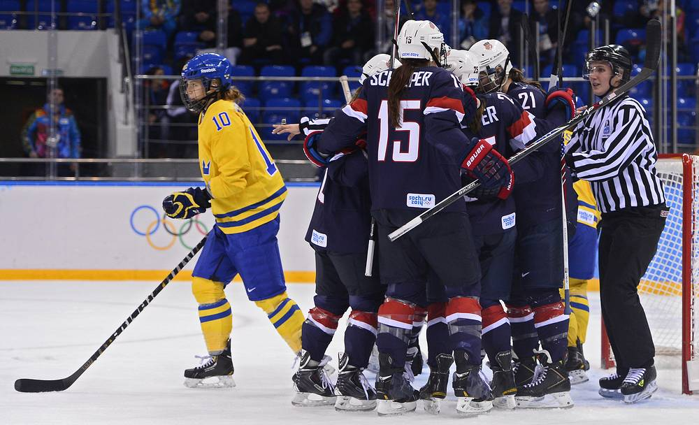 Ice hockey semi final match between USA and Sweden