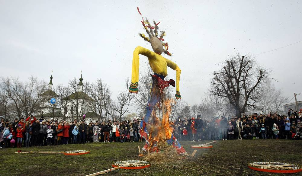 The mascot of the celebration is usually a brightly dressed straw effigy of Maslenitsa
