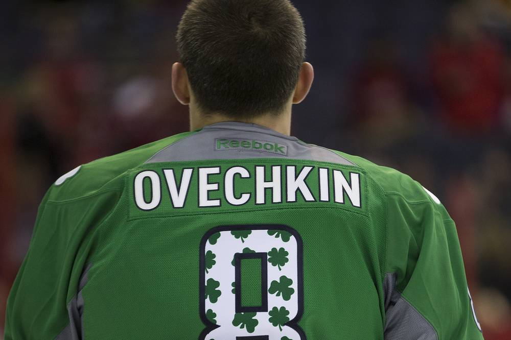 Washington Capitals right wing Alex Ovechkin warms up in a special St. Patricks Day jersey