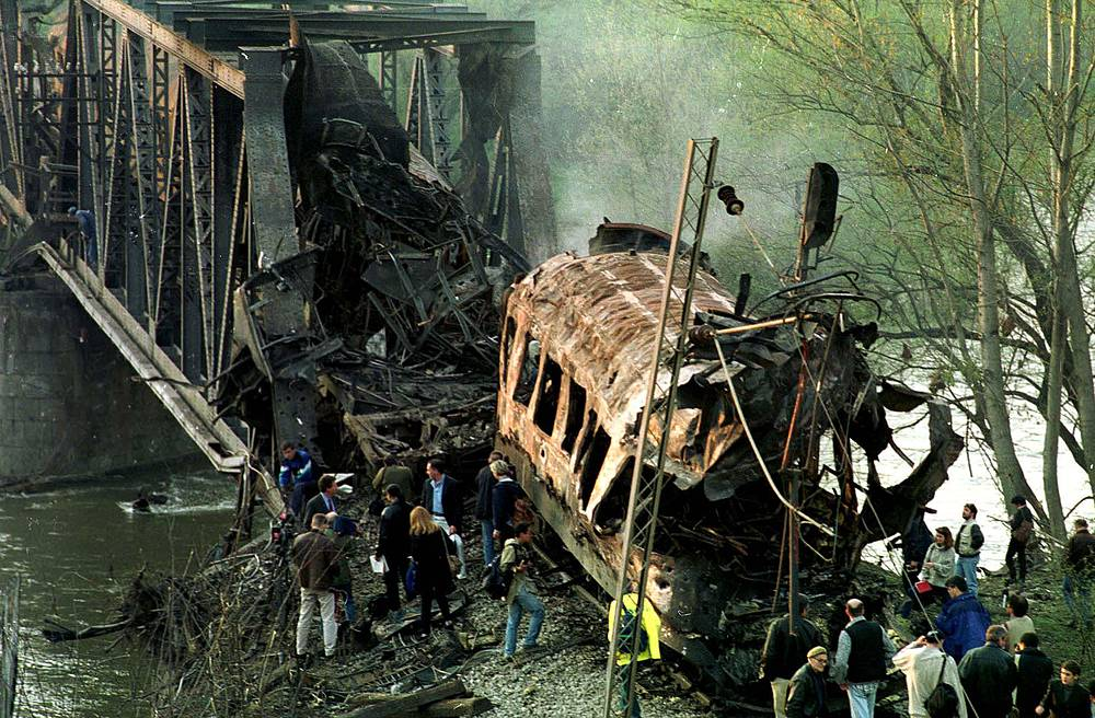 Remains of passenger train hit by NATO warplanes on a bridge in the Grdelicka gorge, 300 kilometers south of Belgrade