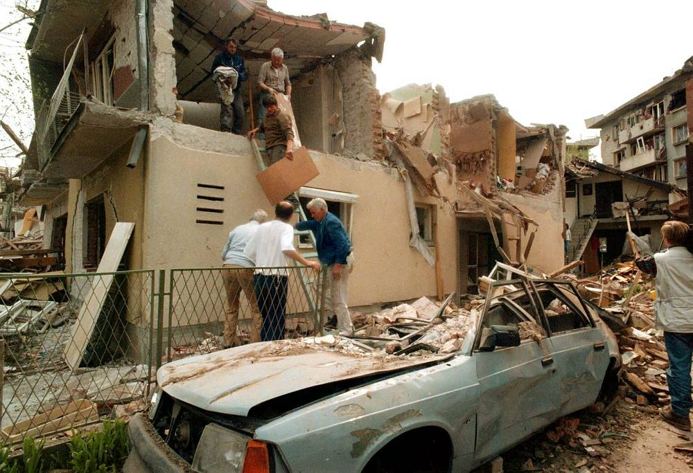 Operation 'Allied Force' in Yugoslavia, 1999. Photo: NATO bombardment results in the city of Aleksinac