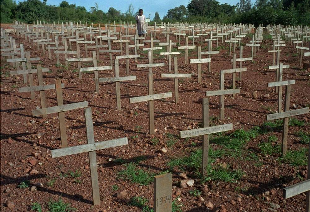 The interethnic conflict between Tutsi and Hutu flared up in early 1990. Photo: a cemetary not far from Rwandas capital, Kigali, where victims of the genocide are burried