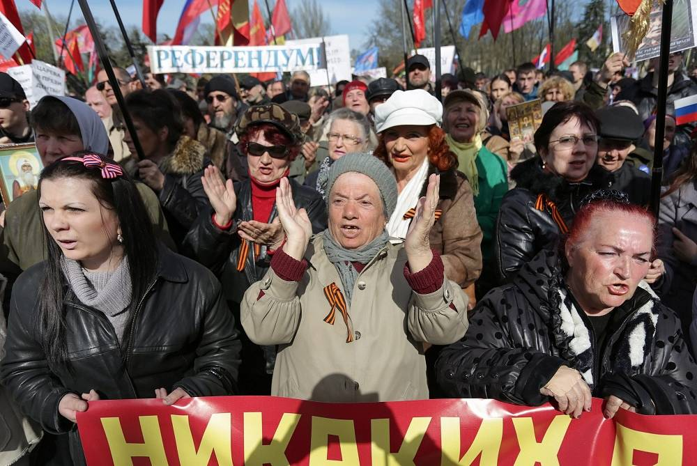 Supporters of a referendum in Odessa