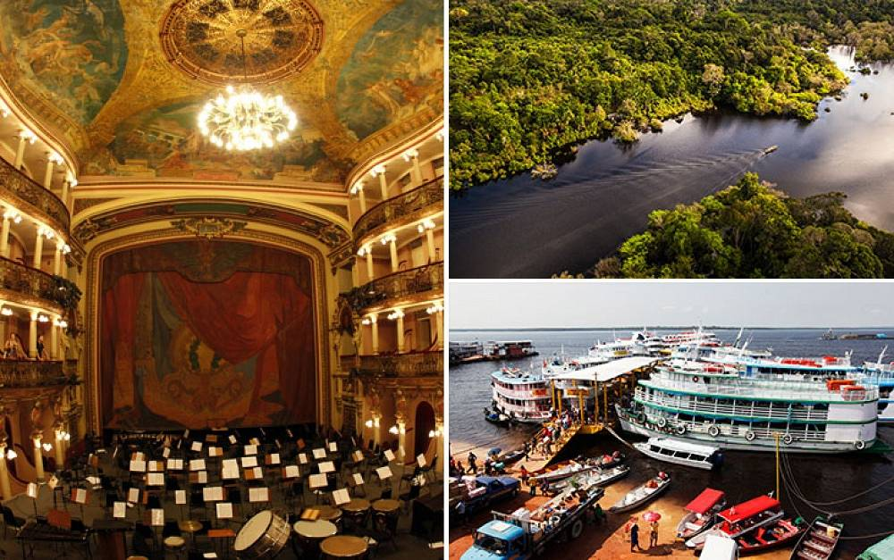 Manaus is the capital city of the state of Amazonas in northern Brazil. It is situated at the confluence of the Negro and Solimoes rivers. Amazonia opera theater is one of the main attractions of the city