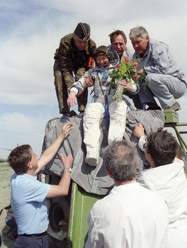 The first non-professional Briton in space and the first woman to visit Mir space station was Helen Sharman, a chemist for Mars Incorporated, who spent six days in space in May 1991