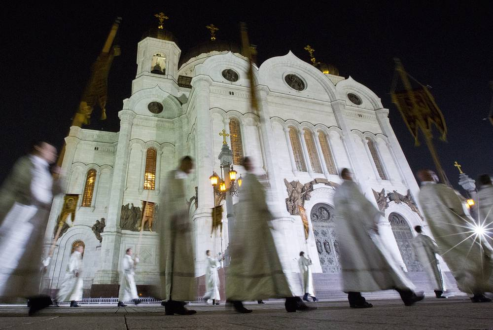 A cross procession is the most visited part of the Easter vigil
