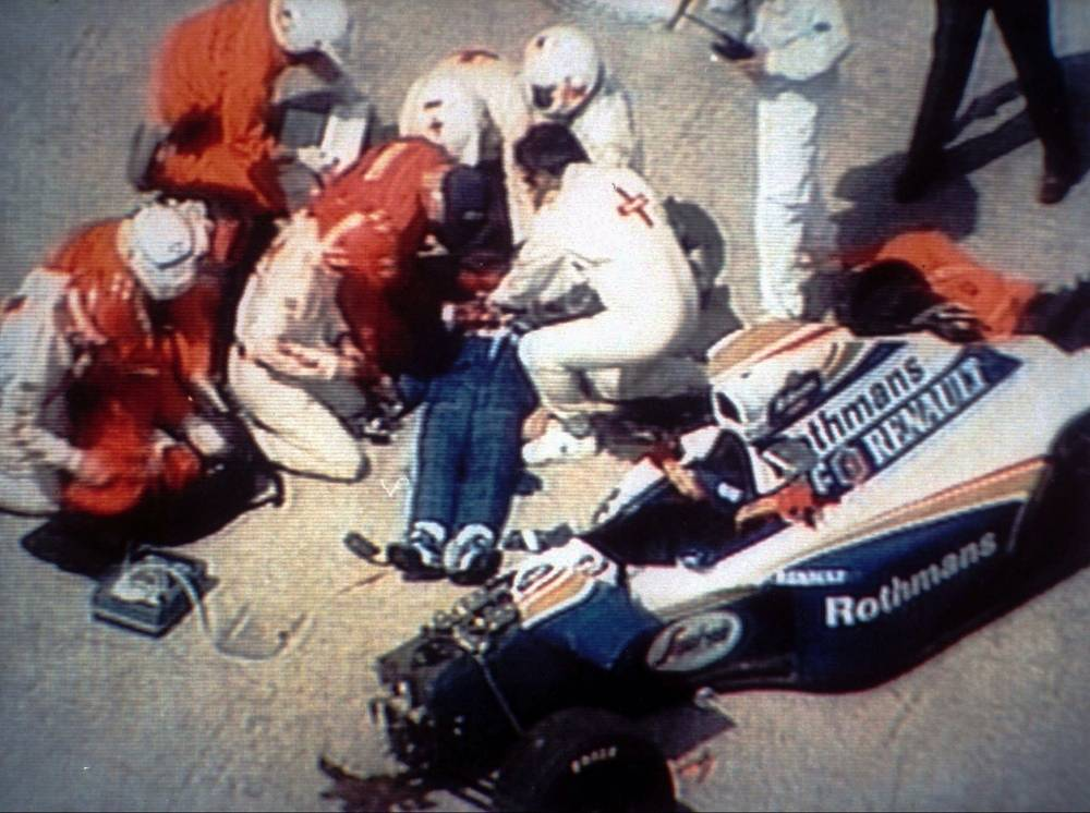 On lap 7, Senna's car left the racing line at around 307 km/h, ran off the track, and hit a concrete wall at around 233 km/h