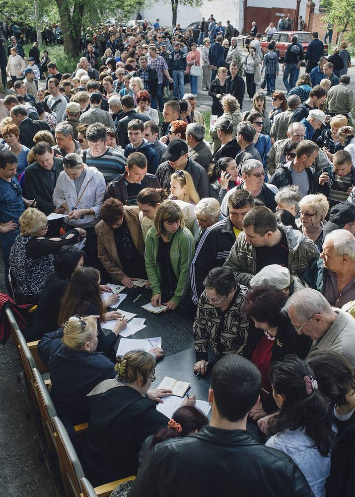 At a polling station in Mariupol
