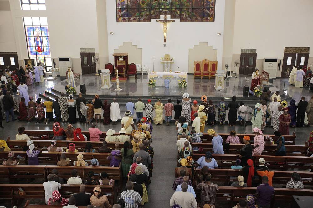 Catholic faithful attend a morning Mass given in honour of the kidnapped Chibok schoolgirls, in Abuja, Nigeria