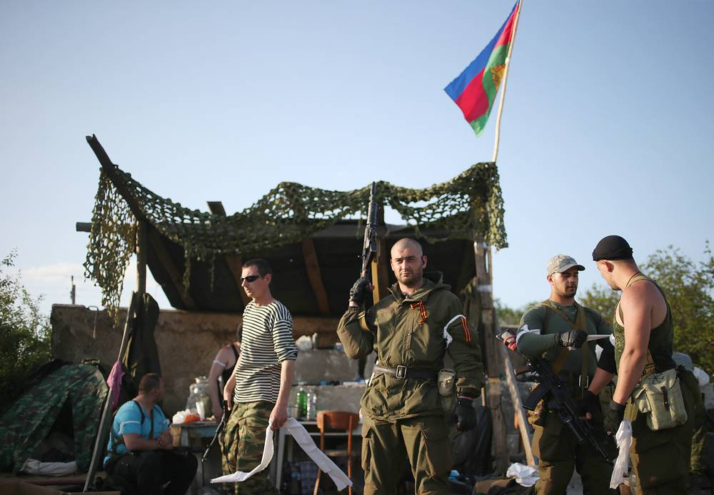 A militia checkpoint in Sloviansk May 15