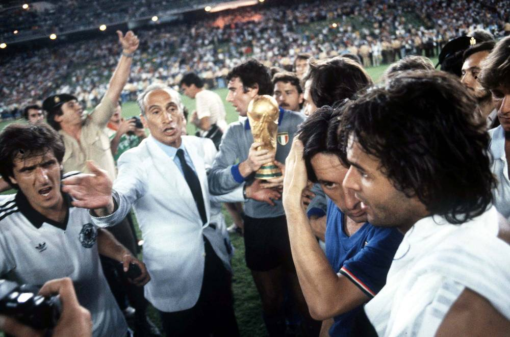 World Cup 1982 took place in Spain. In the final, Italy won its third World Cup title beating West Germany 3-1. Photo (from left): Italy's Claudio Scirea, coach Enzo Bearzot, Dino Zoff, Giampiero Marini and Antonio Cabrini