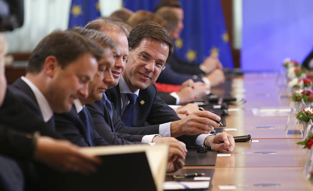 Dutch prime Minister Mark Rutte (fourth left) and other EU leaders