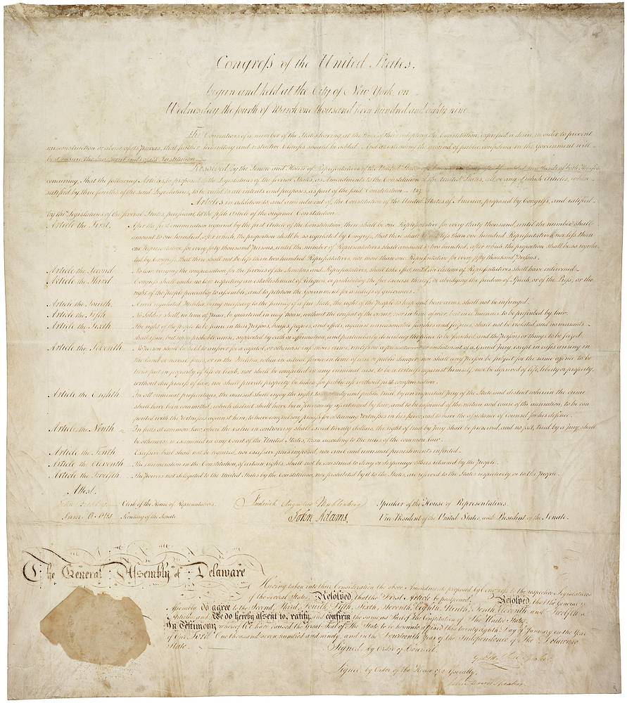 The Bill of Rights is the collective name for the first ten amendments to the United States Constitution