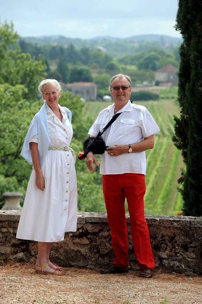 Denmark's Queen Margrethe and her French-born husband Prince Henrik in their Chateau de Caix residence in  southwestern France