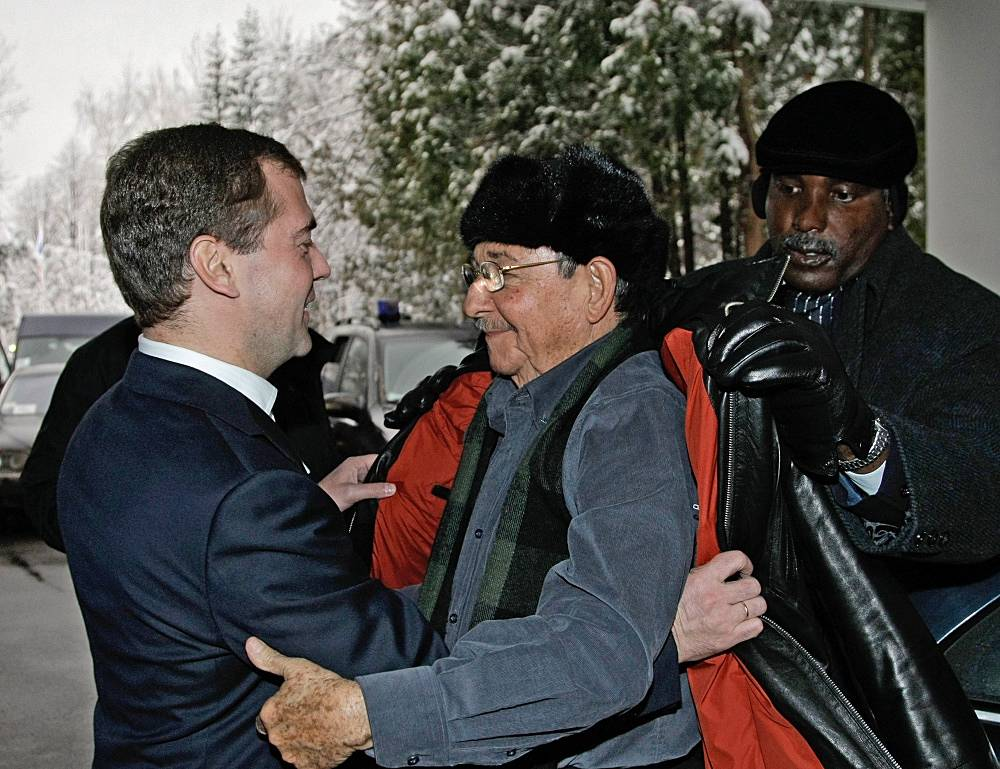 Dmitry Medvedev, then Russian President, meets Raul Castro in Russia's Zavidovo in 2009
