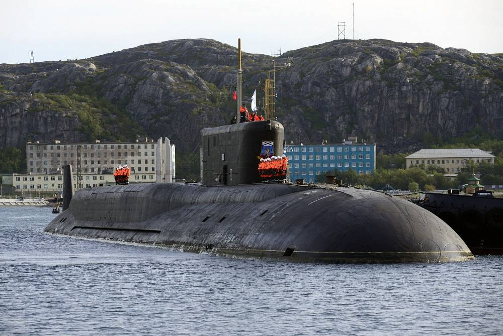 Another fourth generation Borei class ballistic missile submarine Yury Dolgorukiy.  the R-39M missile that the Borei class was supposed to carry was abandoned after several failed tests, and the submarine was redesigned for the Bulava missile