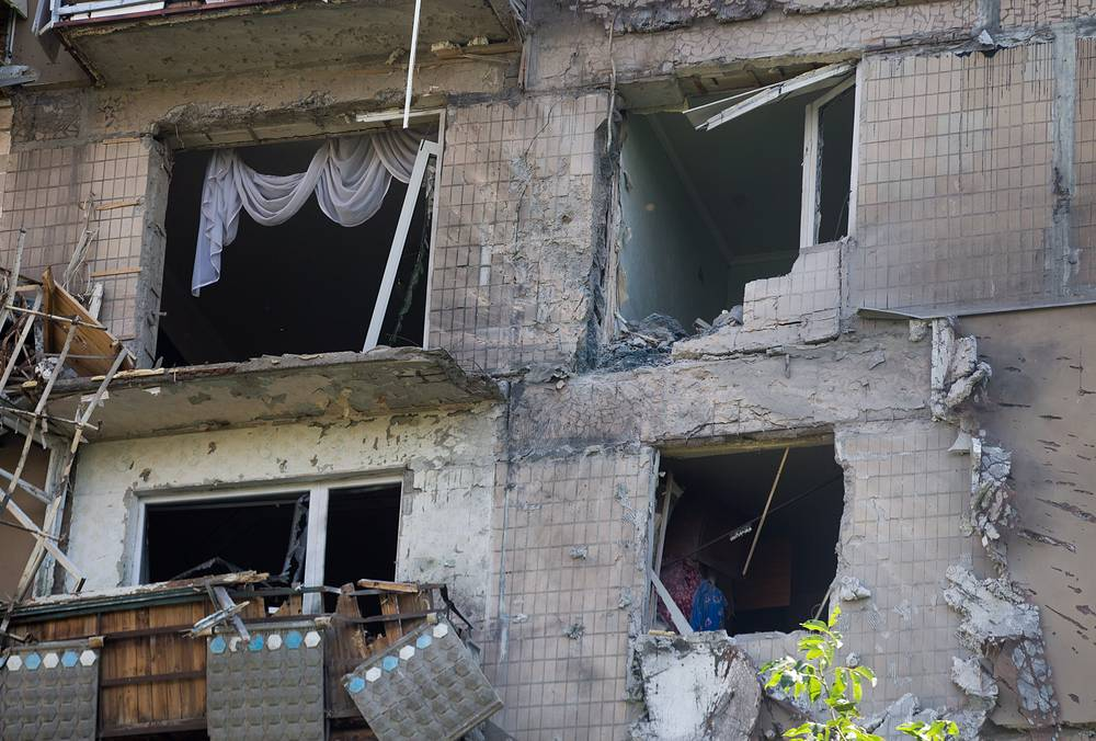 A destroyed house in Donetsk