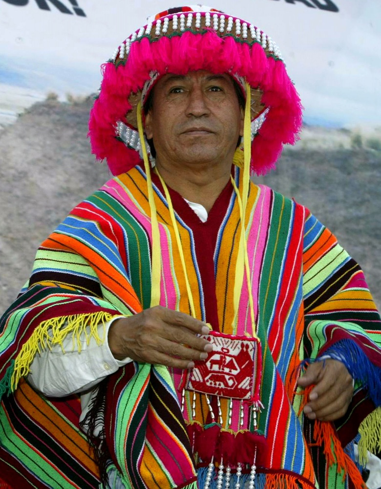 Peru's President Alejandro Toledo dressed in traditional Andean clothing