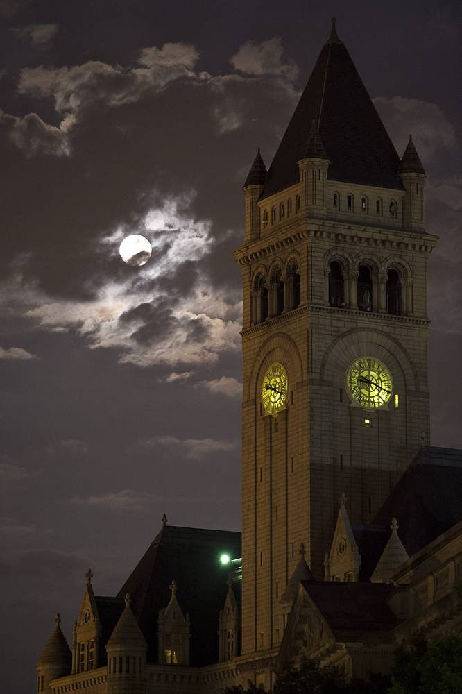 Supermoon over the Old Post Office and Clock Tower, in Washington, DC, USA