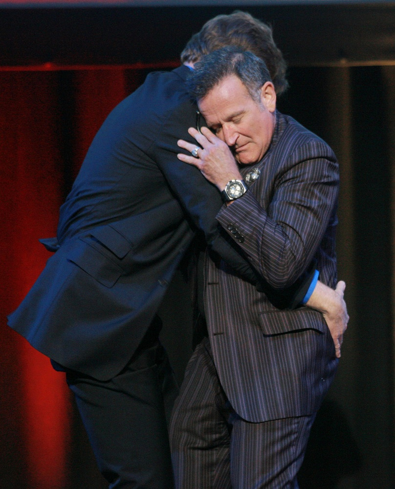 Comedian Conan O'Brien with Robin Williams at a show in New York, 2007