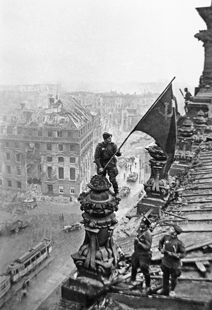'Raising a flag over the Reichstag' by Yevgeny Khaldei