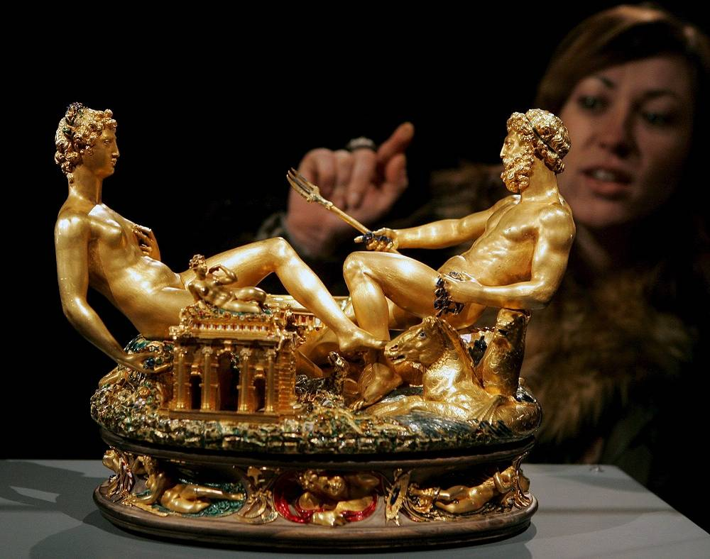 Benvenuto Cellini's golden salt tray 'Saliera' worth around $55 mln. was stolen in 2003. In 2006 it was found burried in a forest
