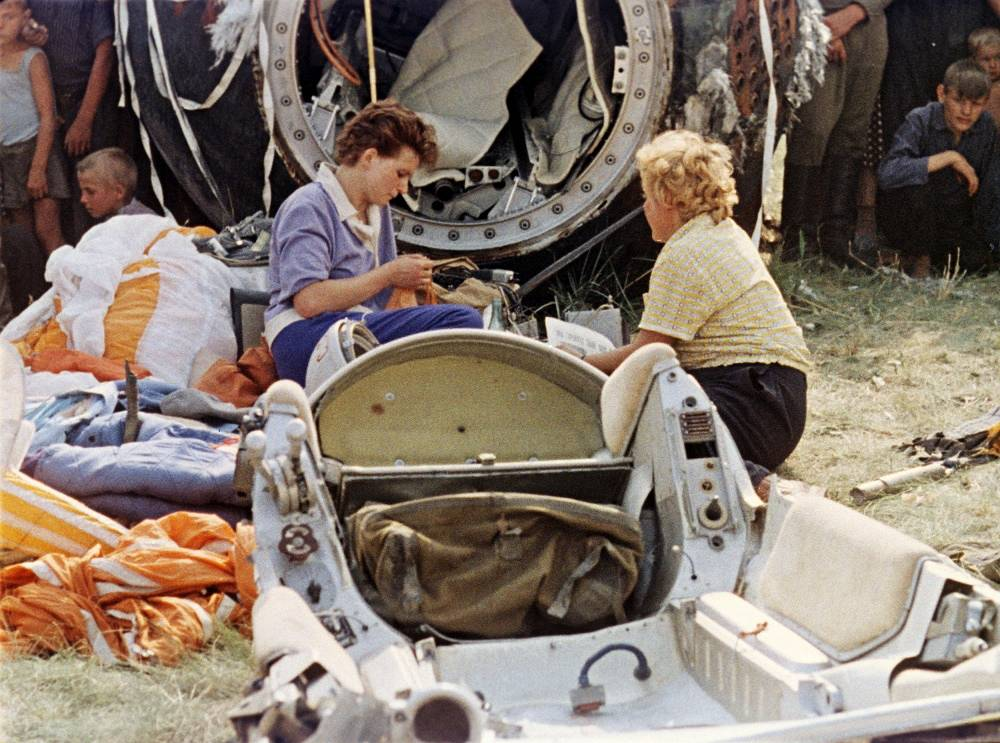 First woman cosmonaut Valentina Tereshkova (C) after landing, 1963