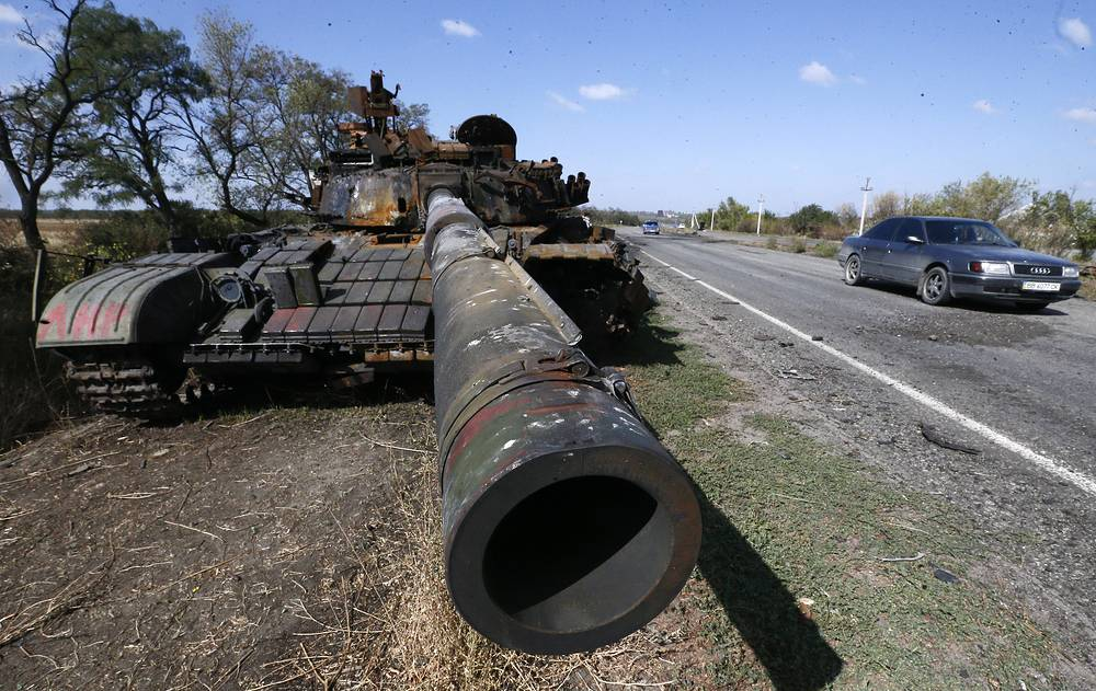Destroyed military hardware of the Ukrainian government forces seen in Luhansk region