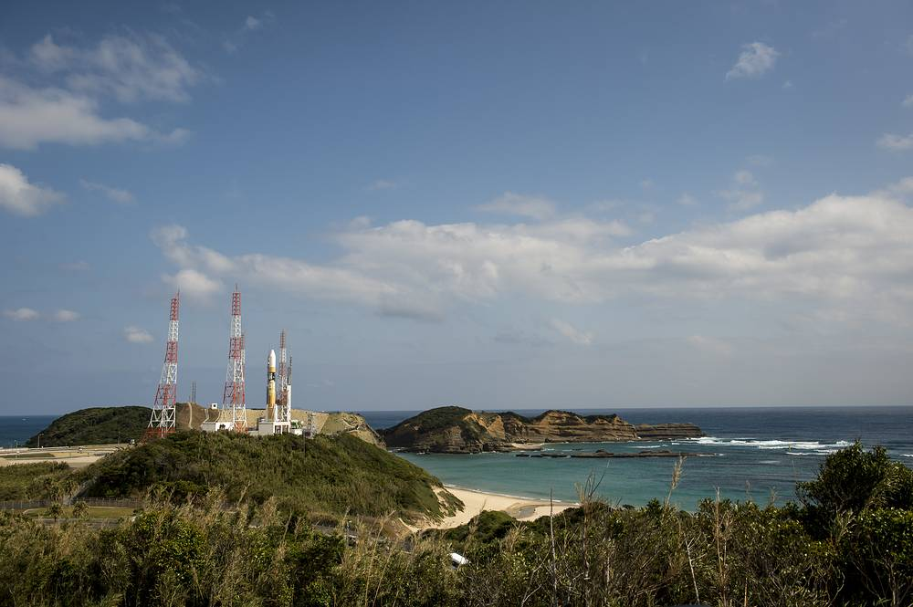 Tanegashima Space Center (TNSC) is a Japanese space development facility. It is located on Tanegashima island, 115 km south of the third largest Japanese island Kyushu. TNSC activities include testing, launching and tracking of satellites. Photo: A Japanese H-IIA rocket is seen as it rolls out to launch pad 1 of the Tanegashima Space Centre, February 27, 2014